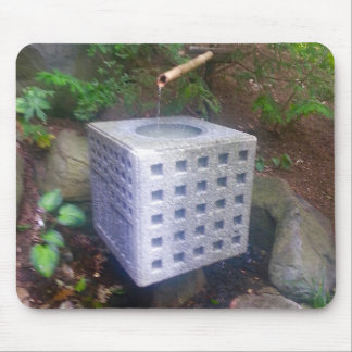 Fountain Stone Cube and Bamboo Japanese Gardens Mouse Mat