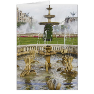 Fountains in front of the Palace of Parliament Card