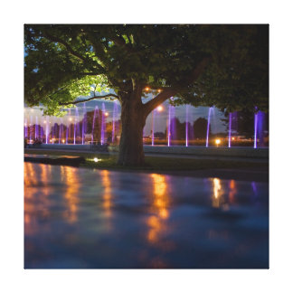 Fountains show - Warsaw city by night photography Canvas Prints