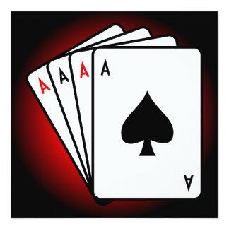 Four Aces! 13 Cm X 13 Cm Square Invitation Card