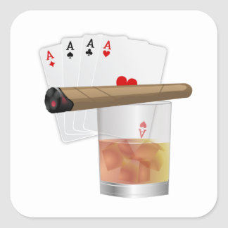 Four Aces, A Drink and A Cigar Square Sticker