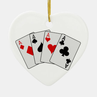 Four Aces (Four of a Kind) Poker Playing Cards Ceramic Heart Decoration