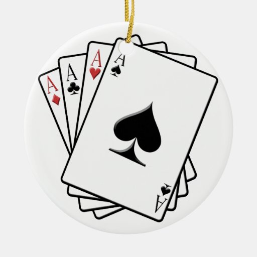 Four Aces Playing Cards Design Christmas Ornaments