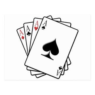 Four Aces Playing Cards Design Postcard