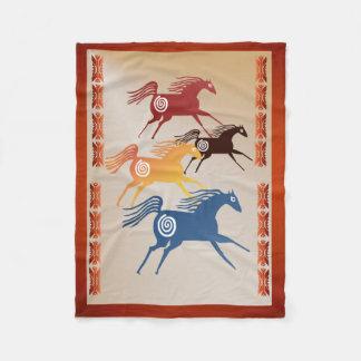 Four Ancient Horses Fleece Blanket
