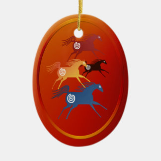 Four Ancient Horses ornament_oval Christmas Ornament