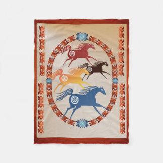 Four Ancient Horses Oval Fleece Blanket