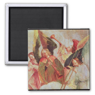 Four angels playing instruments square magnet