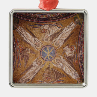 Four angels with the symbols of the Silver-Colored square decoration