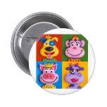 Four Animal Faces Button