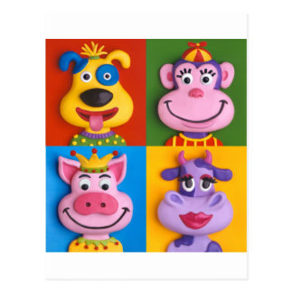 Four Animal Faces Post Card