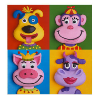 Four Animal Faces Posters