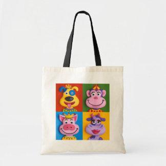 Four Animal Faces Tote Bag