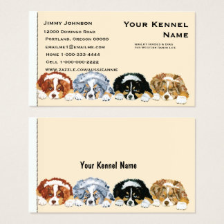 Four Australian Shepherd Puppies Business Card