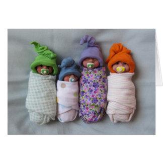 Four Babies: Polymer Clay Sculptures: Binkies Card