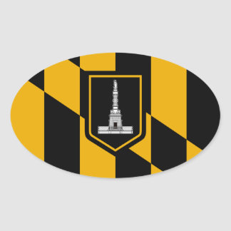 FOUR Baltimore Flag Oval Sticker