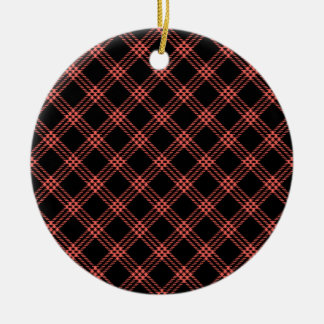 Four Bands Small Diamond - Pastel Red on Black Round Ceramic Decoration