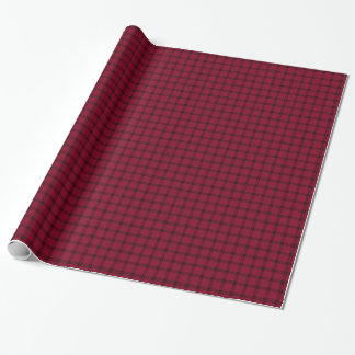 Four Bands Small Square - Black on Burgundy Wrapping Paper