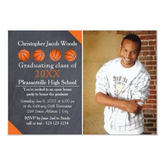 Four Basketball Chalkboard-3x5 Grad Announcement