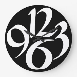 Four big white numbers on black large clock