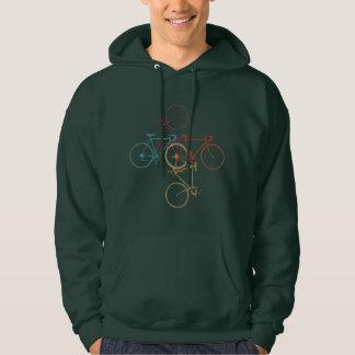 four bikes, cycling hooded sweatshirt