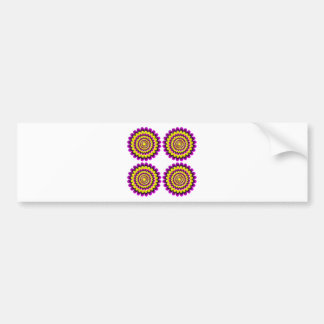 Four blooming flowers optical illusion bumper stickers
