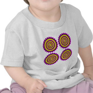Four blooming flowers optical illusion tee shirts