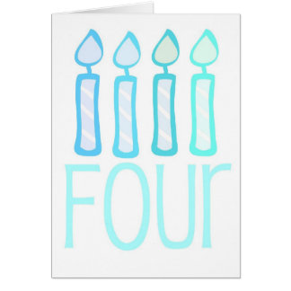 Four Blue Candle Birthday Cards and Postcards