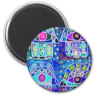 Four Blue Hamsa Vintage Tapastry Judaica 6 Cm Round Magnet