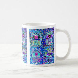Four Blue Hamsa Vintage Tapastry Judaica Coffee Mug