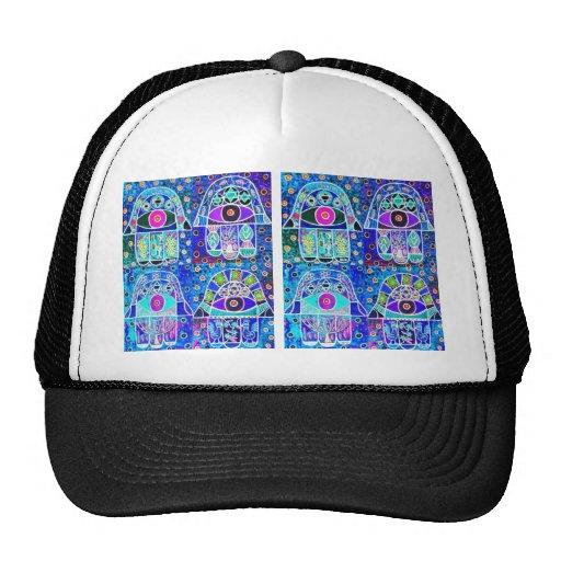 Four Blue Hamsa Vintage Tapastry Judaica Hat