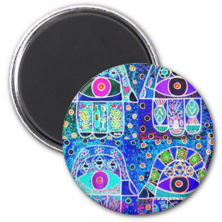 Four Blue Hamsa Vintage Tapastry Judaica Magnet