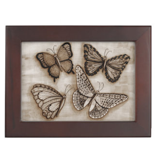 Four Butterflies Keepsake Box