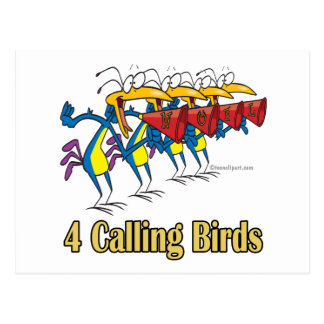 four calling birds 4th fourth day of christmas postcard