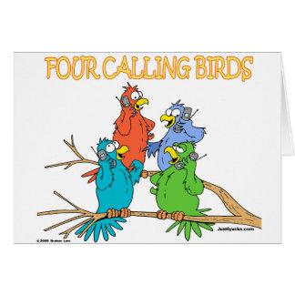 Four Calling Birds Greeting Card