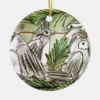 Four Calling Birds Round Ceramic Decoration