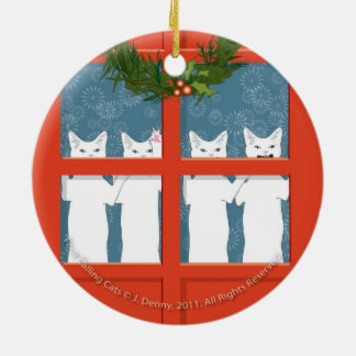 Four Calling Cats... double sided Christmas Ornament