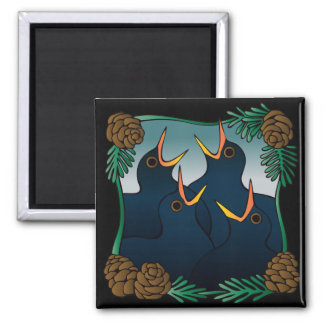 Four calling (colly) birds square magnet