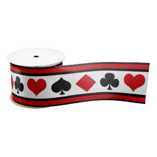 Four card suits satin ribbon