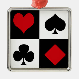 Four card suits Silver-Colored square decoration