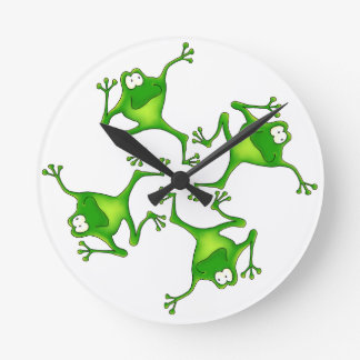 Four Cartoon Frogs Clock