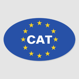 "FOUR Catalonia ""CAT"" European Union Flag Oval Sticker"