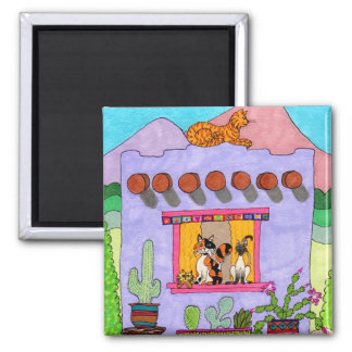 Four Cats at a Purple Adobe House Fridge Magnets