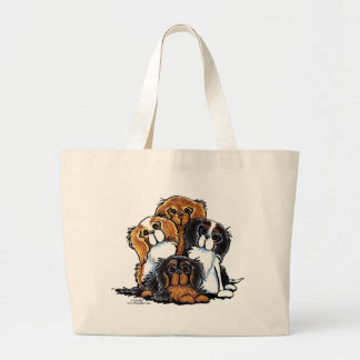 Four Cavalier King Charles Spaniels Large Tote Bag
