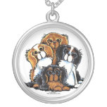Four Cavalier King Charles Spaniels Round Pendant Necklace