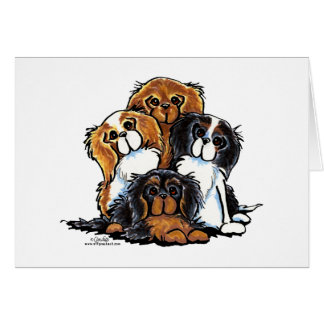 Four Cavalier King Charles Spaniels Note Card
