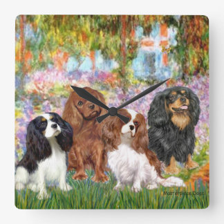 Four Cavaliers in Monet's Garden Wallclock