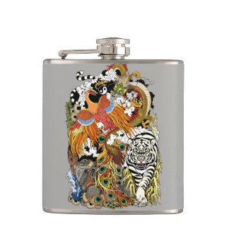 four celestial animals hip flask