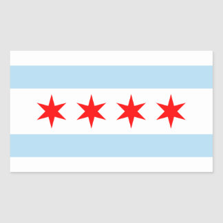 FOUR Chicago Flag Rectangle Sticker