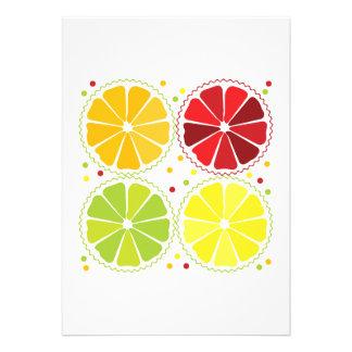 Four citrus fruits custom invitations